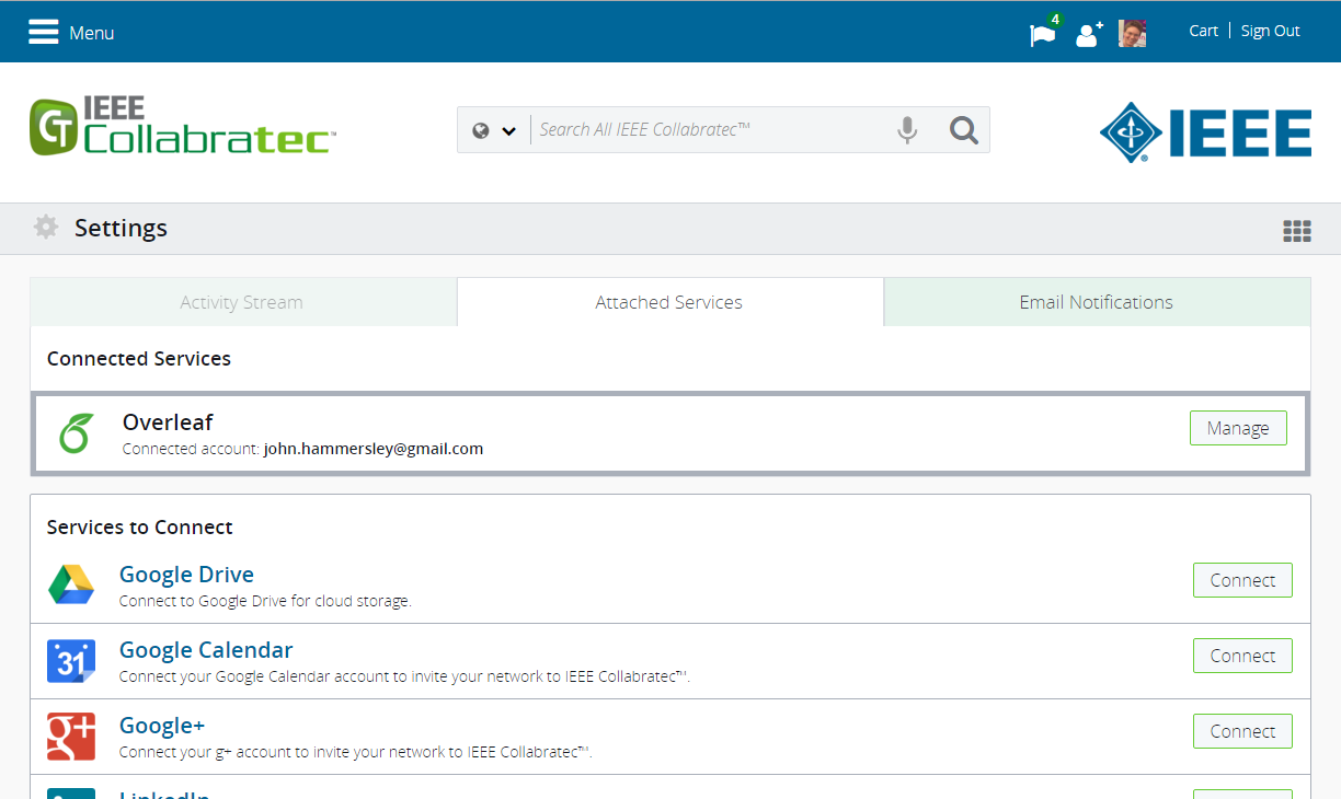 IEEE Collabratec screenshot showing connected Overleaf account