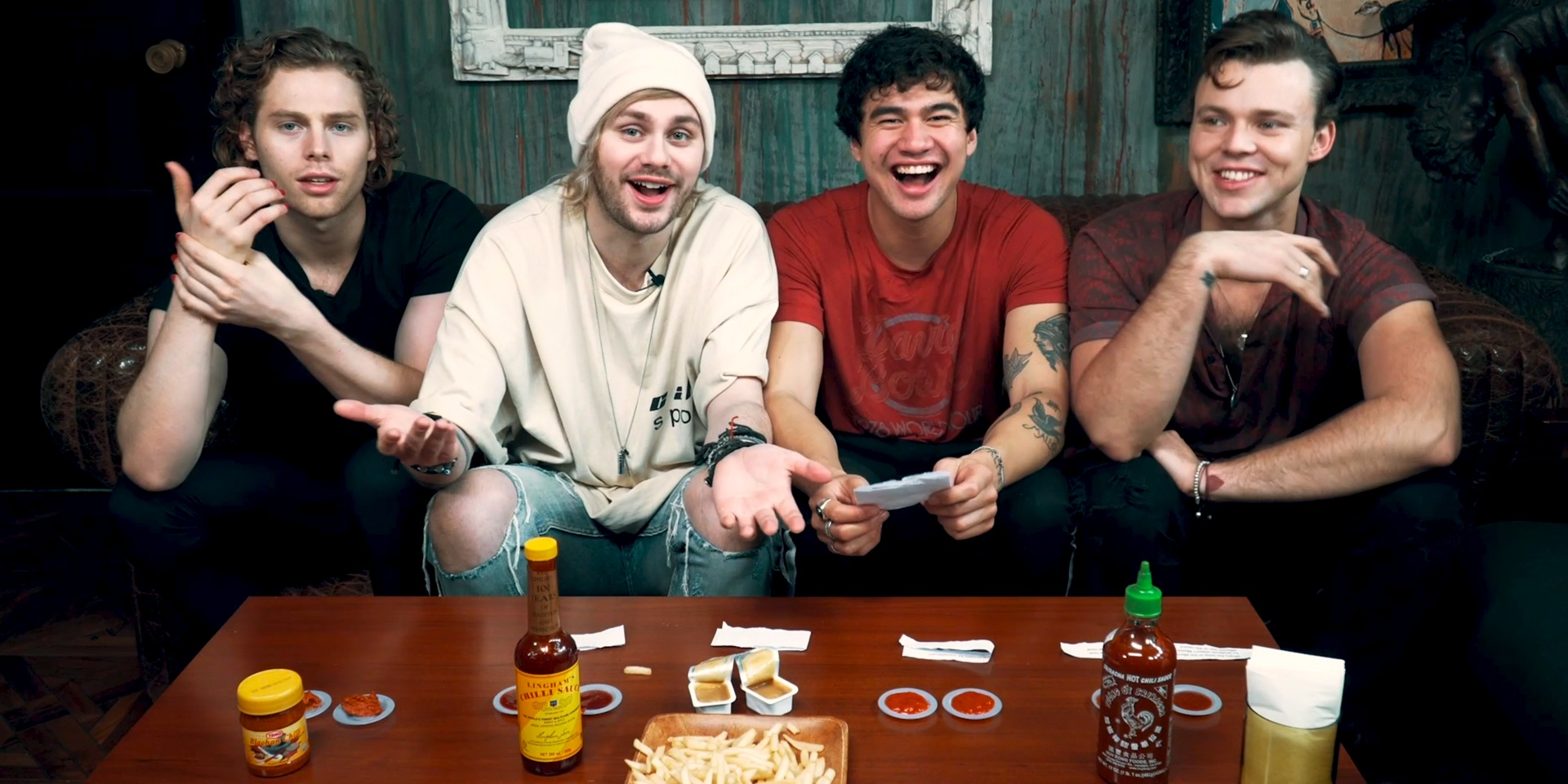 5 Seconds of Summer sample five Singaporean sauces and answer questions about Youngblood – watch