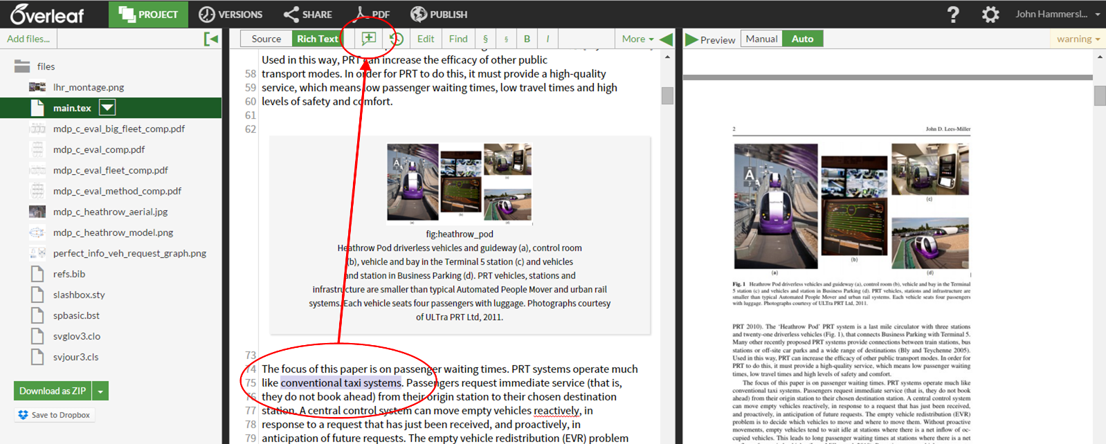 Overleaf selected text for comment screenshot