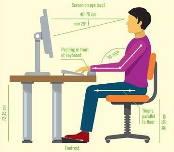 Ajustement poste de travail assis