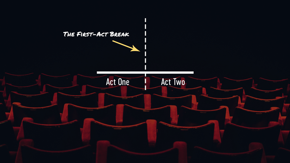 Dashed-line (to indicate first-act break) against backdrop of theater seats