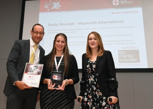 (left) FBC Manby Bowdler's Neil Lloyd, (centre) Hepworth International's Emily Woodall and (right) Danielle Brown MBE