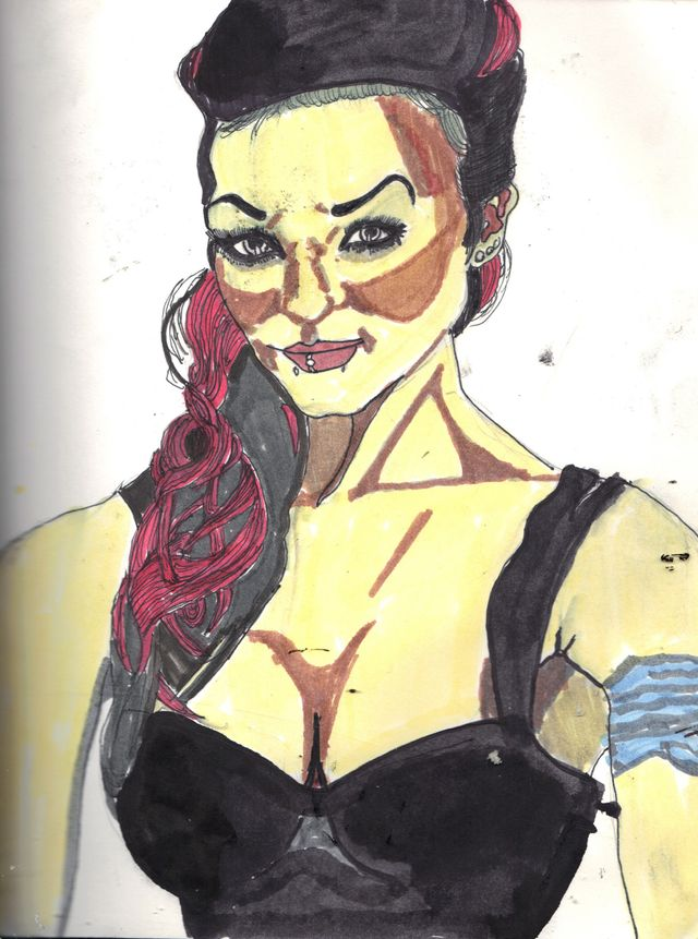 image: Tattooed Goth Woman. $5.00