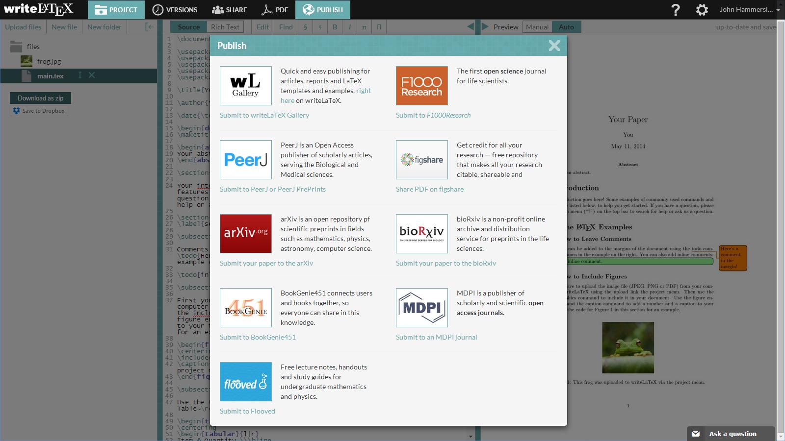 WriteLaTeX bioRxiv submit screenshot 1