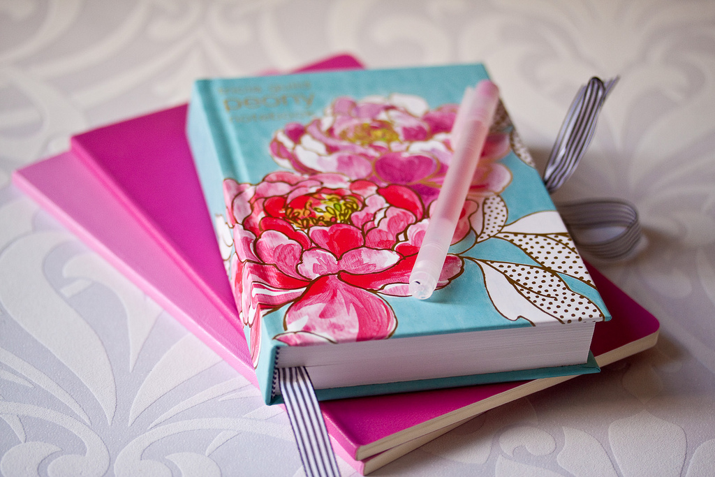 pretty pink peony journals