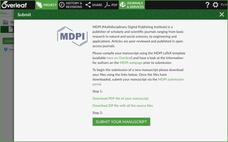 Download Overleaf project for submission