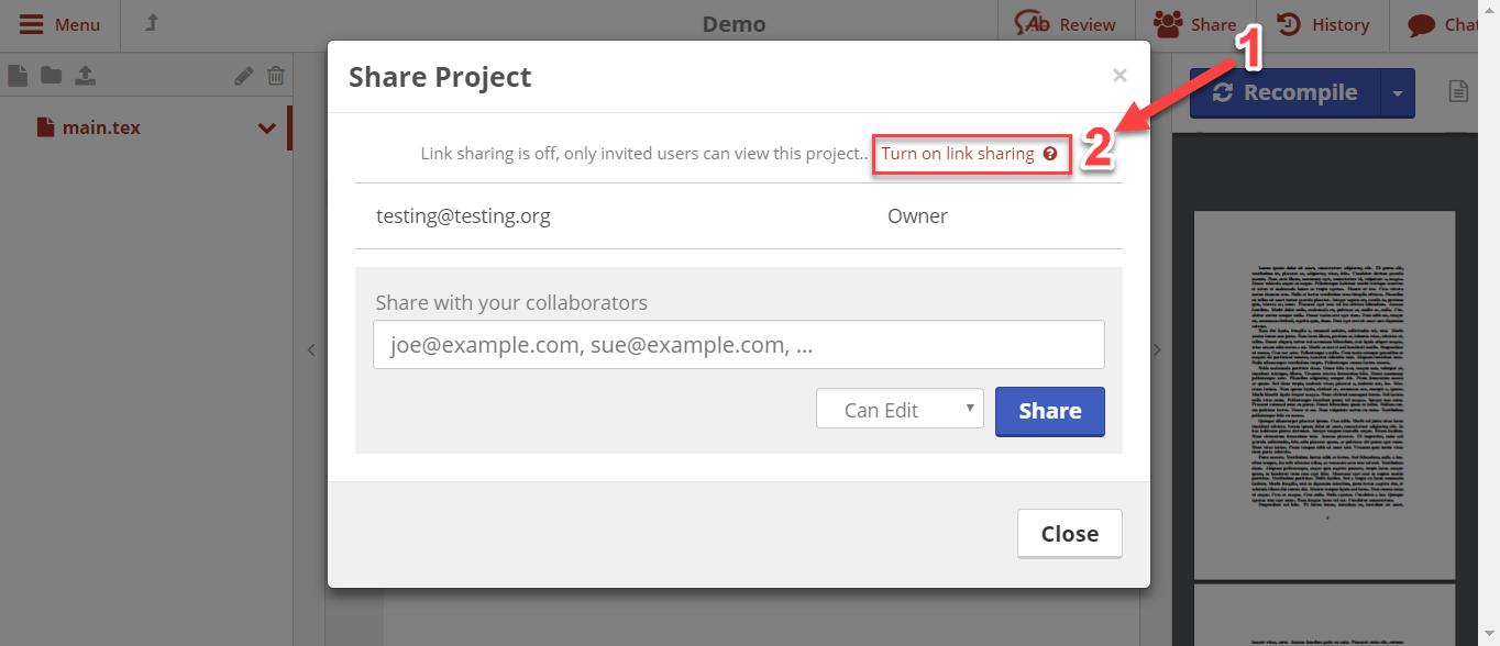 Choosing to enable link sharing on ShareLaTeX