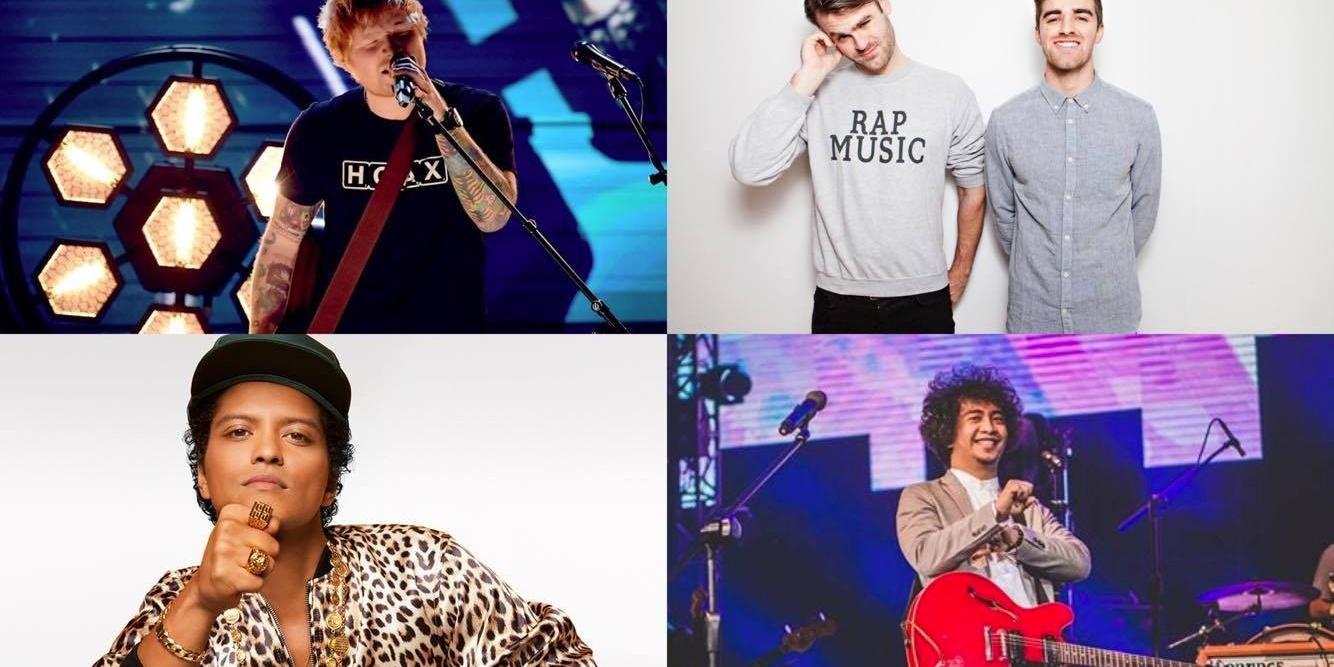 Ed Sheeran, Sud, The Chainsmokers, and Bruno Mars top the BillboardPH charts