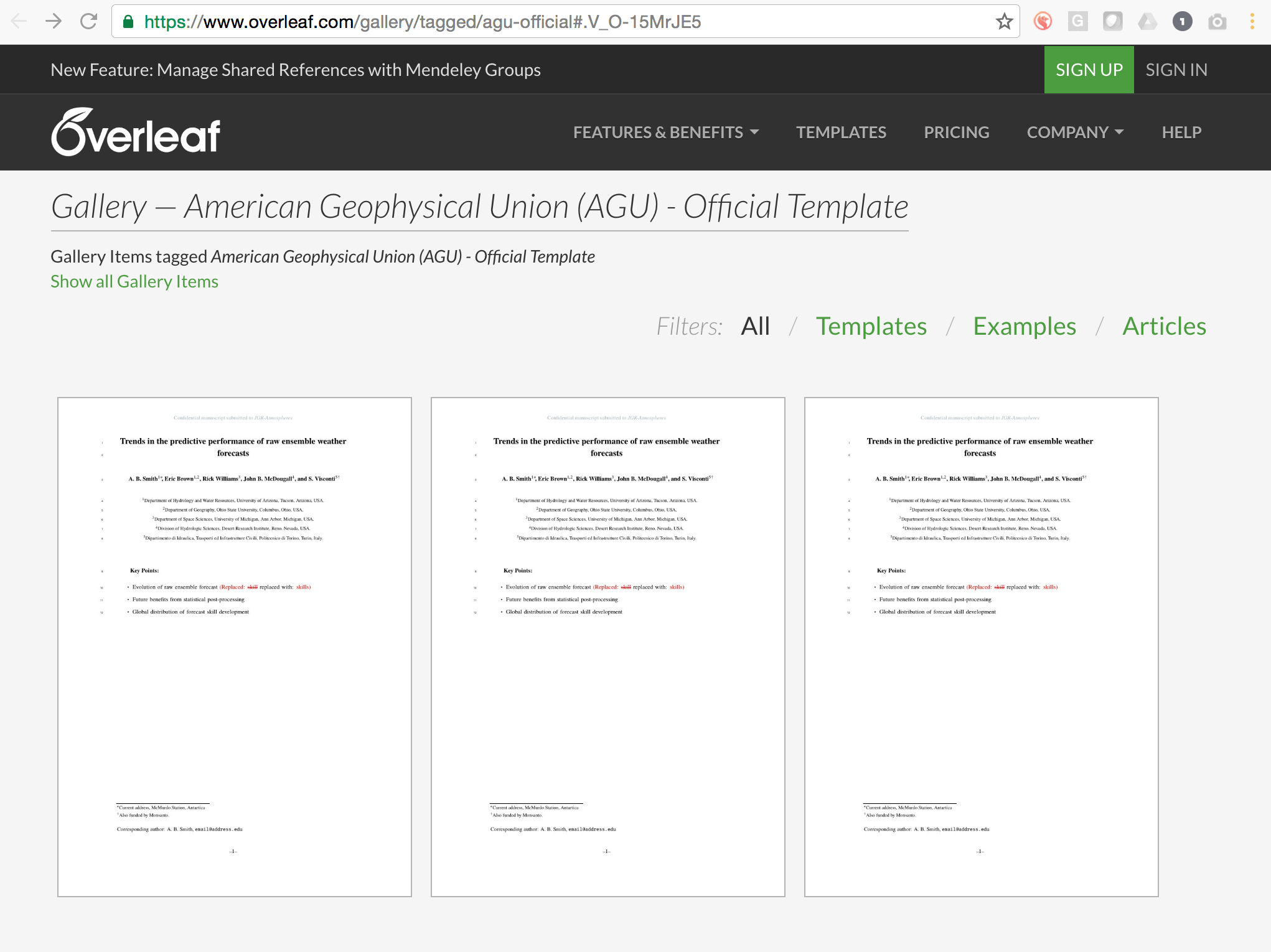 The new AGU LaTeX Templates in Overleaf