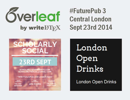 Overleaf writelatex futurepub scholarly social london open drinks event logo Sept 23rd