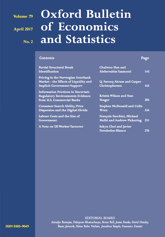 Template for submissions to Oxford Bulletin of Economics and Statistics