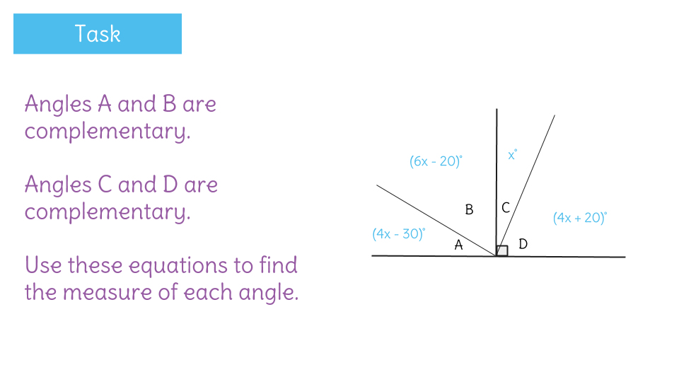Solve for missing complementary angles by writing equations – Complementary Angles Worksheet