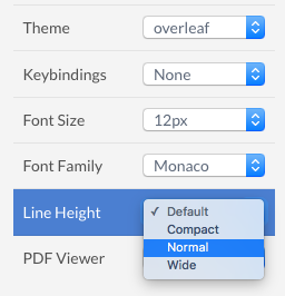 Theme and editor font style options in Overleaf v2 sidebar