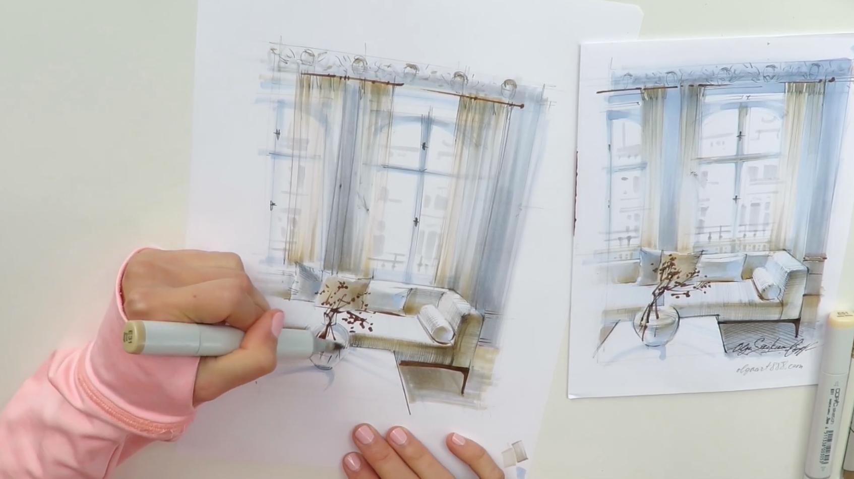 Video Course Textures In Interior Design Drawing Online School Of