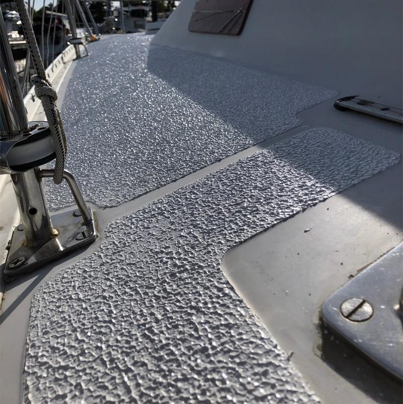 Clean deck with KiwiGrip non-skid