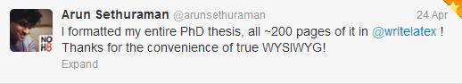 Arun WriteLaTeX Tweet Screenshot