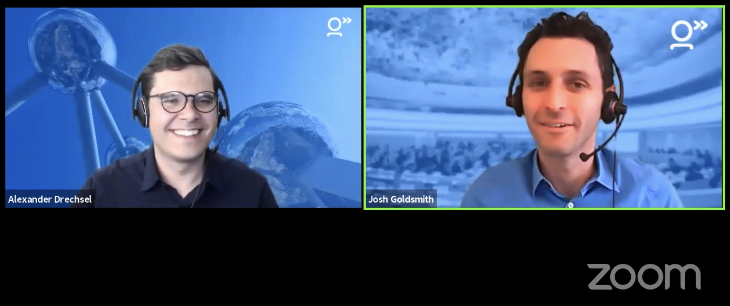 Alex (left) and Josh (right) in a screenshot of a Zoom session
