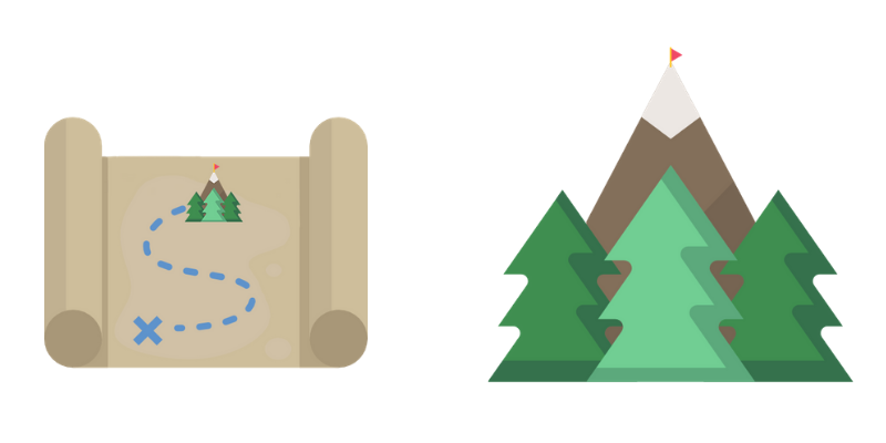 Icon of a map and icon of a mountain with three trees at its base.