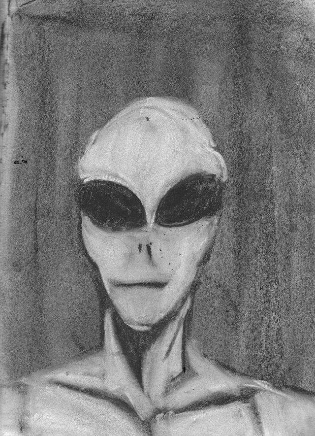 image: GREY ALIEN RENDERED IN CHARCOAL. FRAMED 150.00
