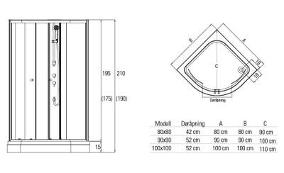 Dusjkabinett Lima 90x90x210cm grå/hvitt