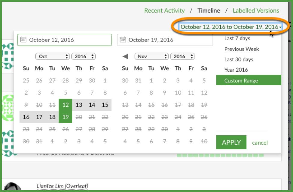 Change timeline date range