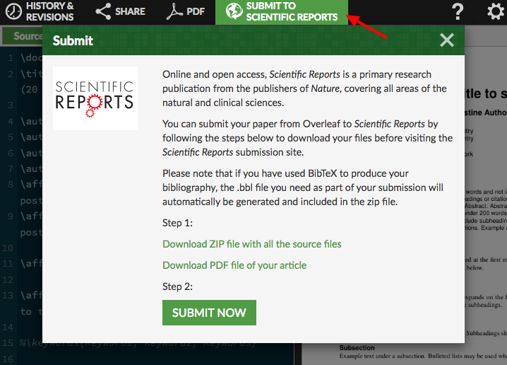 Click on Submit to Scientific Reports in the top bar. Click on the two links to download the files, then click on Submit Now.