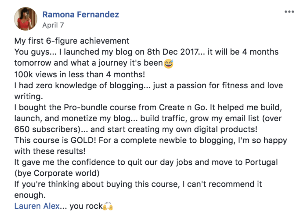 ramona blogging course review