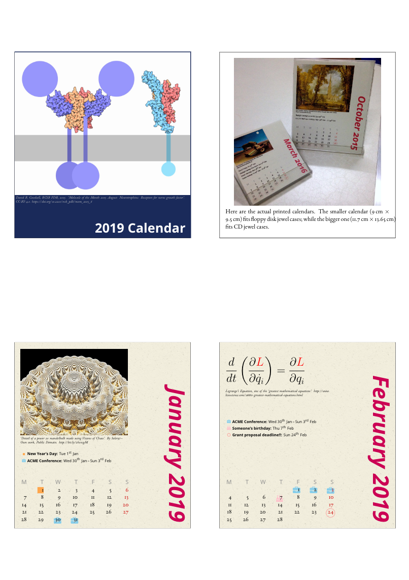 Desktop calendar with events