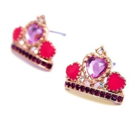 Heart Crown Stud Earrings (Purple) - Free Shipping!