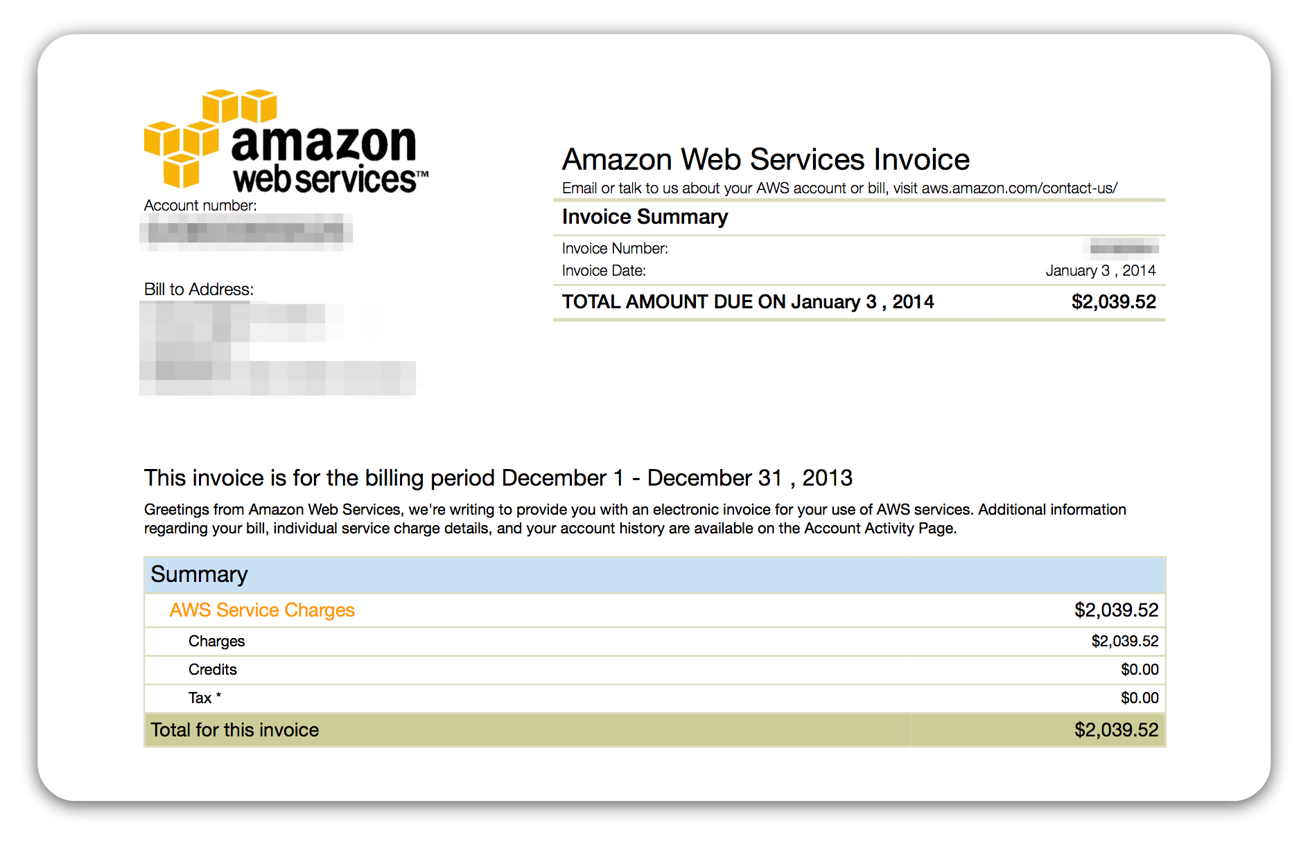 A big ol' AWS bill - you don't want one of these
