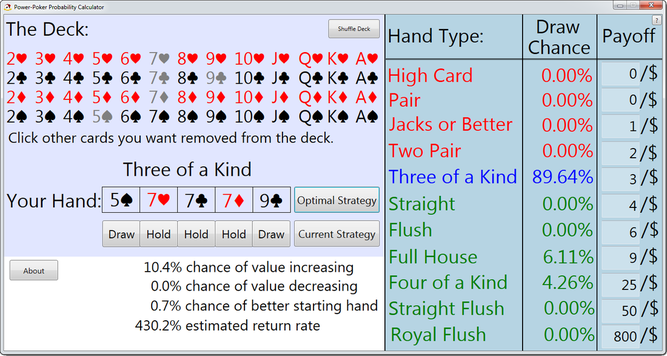 Power Poker odds calculator UI