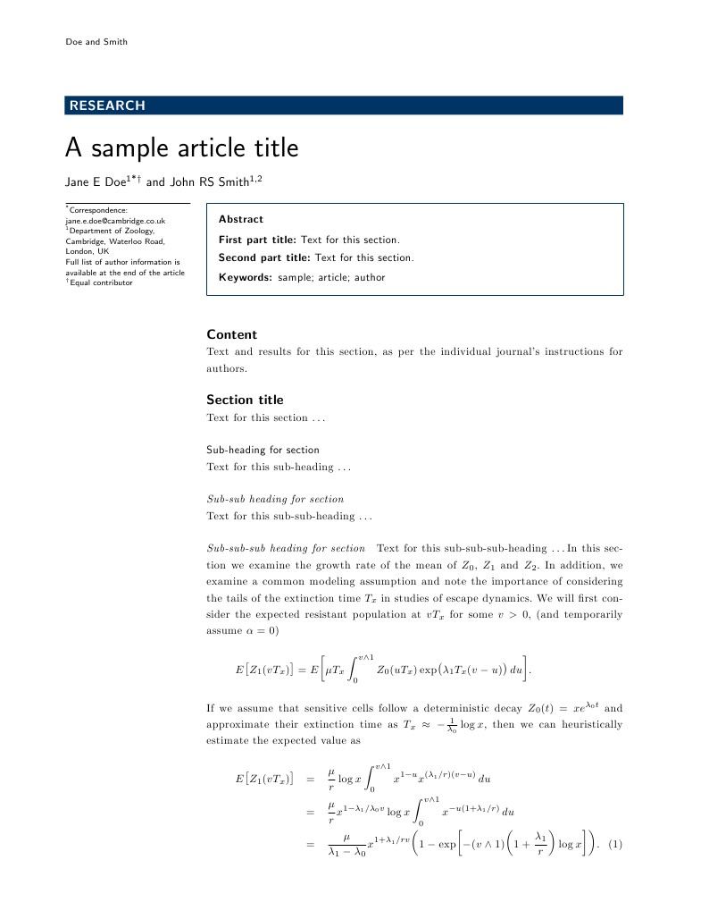BioMed Central Journal Article LaTeX Template Screenshot
