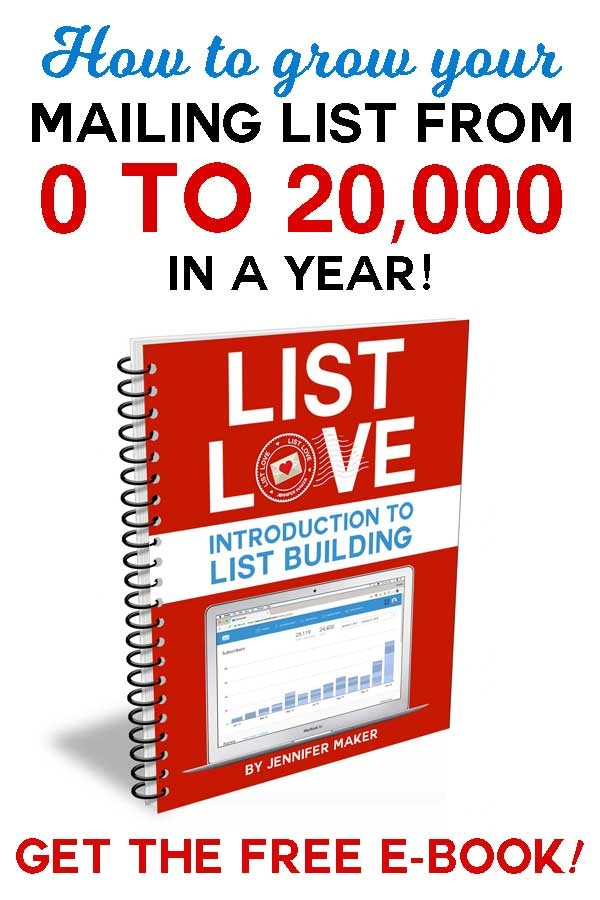 I grew my mailing list to 20,000 subscribers in less than a year on a new blog domain. My mailing list alone was responsible for earning more than $12,000 on my very first product launch! This ebook tells my story and offers tips for building your own mailing list!