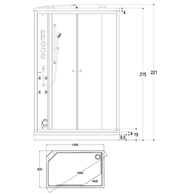 Steamdusj Paris 149 klar/sort speilglass, høyre