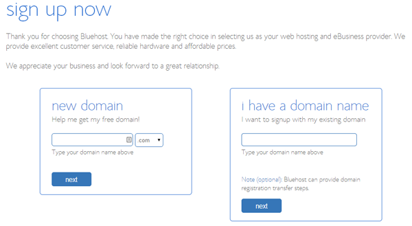 Sign up page - Bluehost - how to set up a website or blog