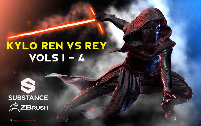 Kylo Ren Vs Rey Curso Zbrush substance painter UVs texturizado hard surface