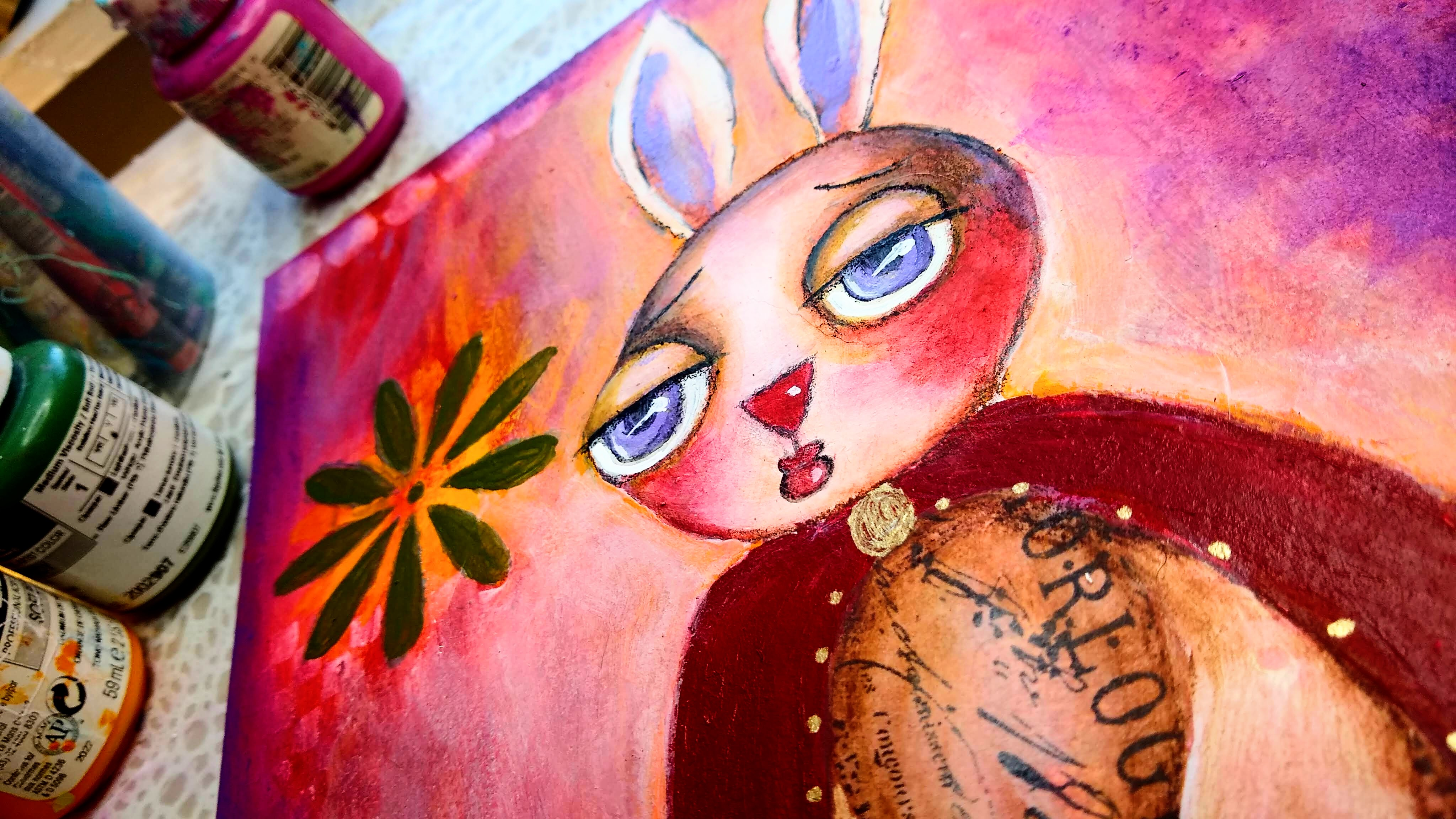 photo of mixed media painting of bunny