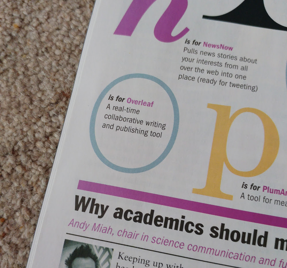 Overleaf in the Times Higher Education Magazine