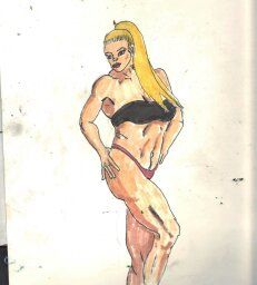 image: jENNIFER. $50.00 INK ON BRISTOL. GOOD FRIEND AND BODY BUILDER. ALSO EXPENSIVE.