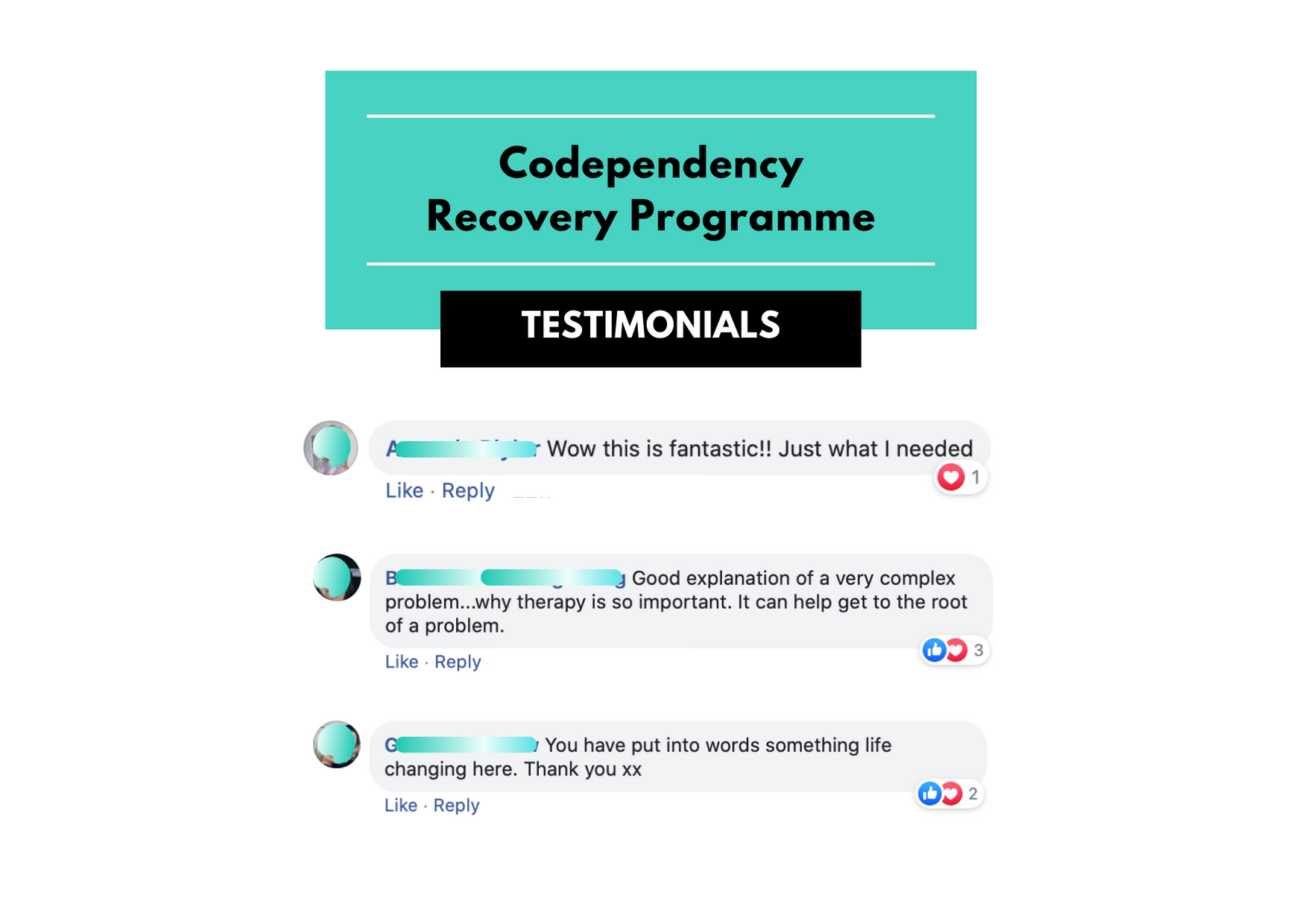 Codependency Recovery Programme Testimonials