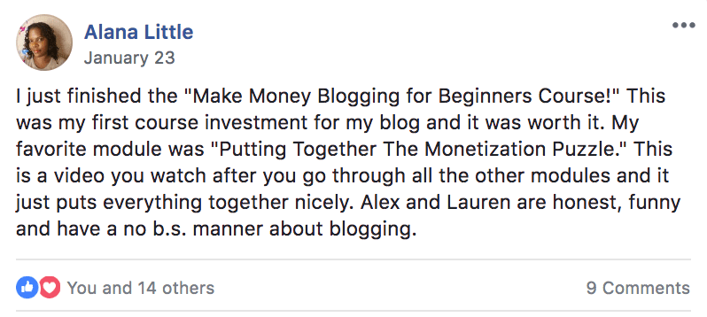 alana make money blogging testimonial