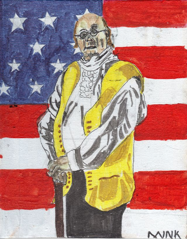image: BENJAMIN fRANKLIN: ACRYLIC ON BOARD. $75.00