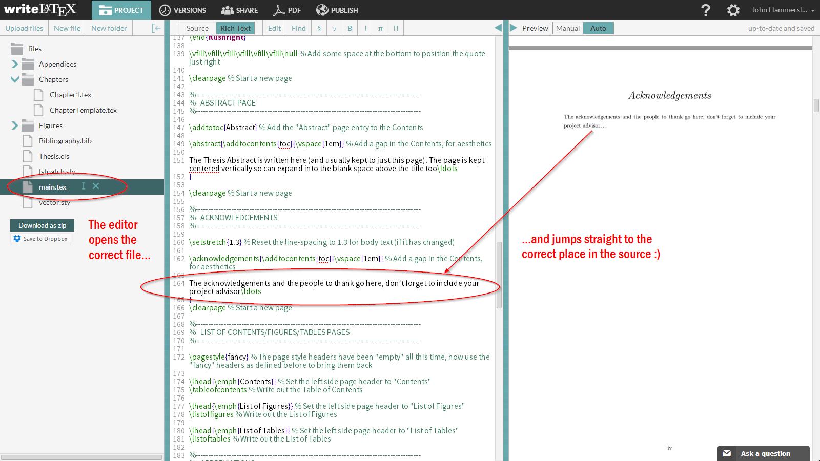 WriteLaTeX SyncTeX demo screenshot 4