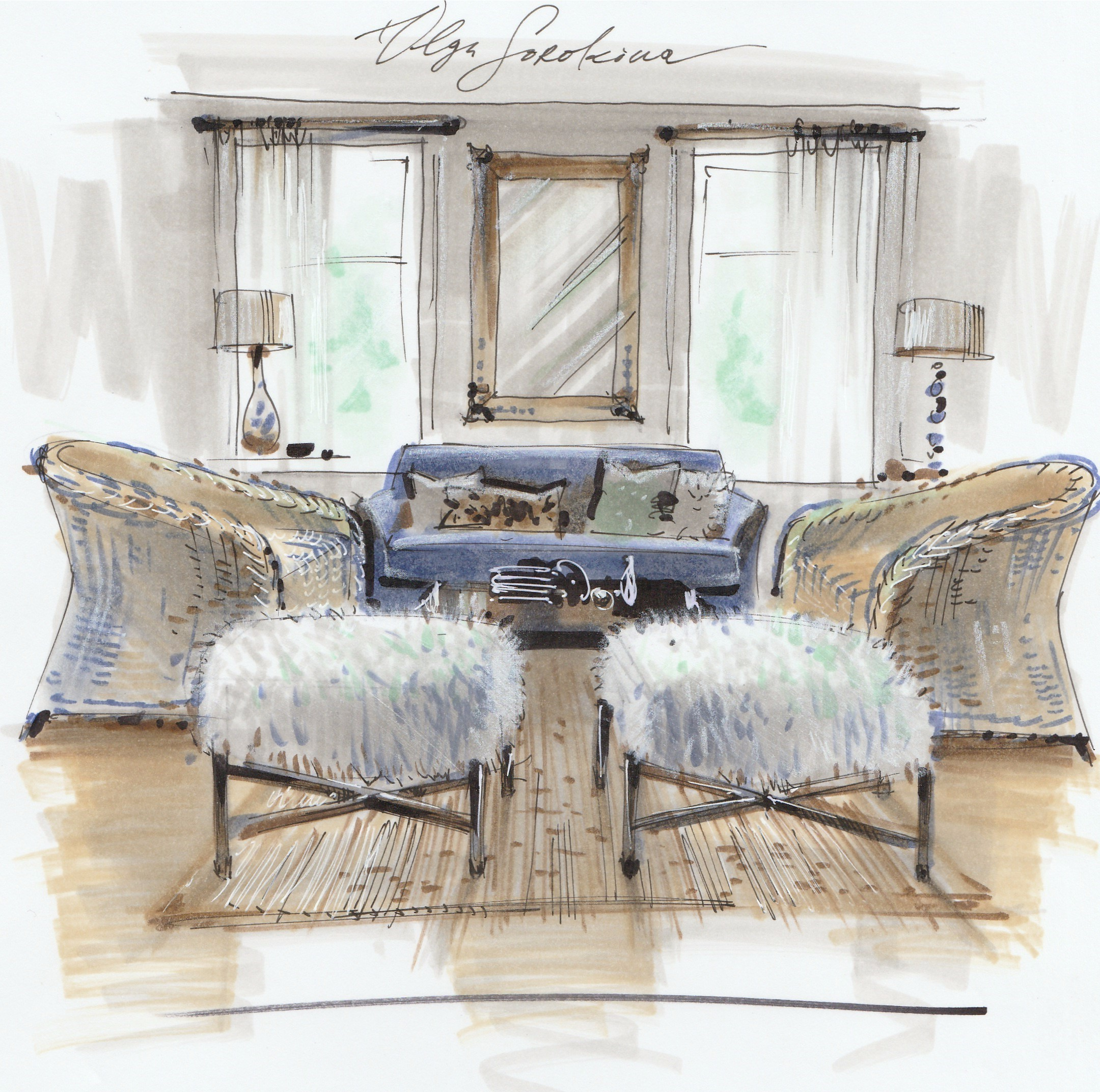 ... Sketch Room Interior Sketching With Markers Advanced Level Online Of ... & Sketch Room - Dining Room Sketch 6 Great Living Room Sketch Plan ...