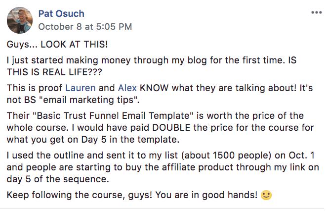 pat make money blogging testimonial