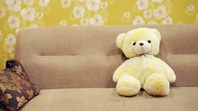 teddy bear sitting on couch