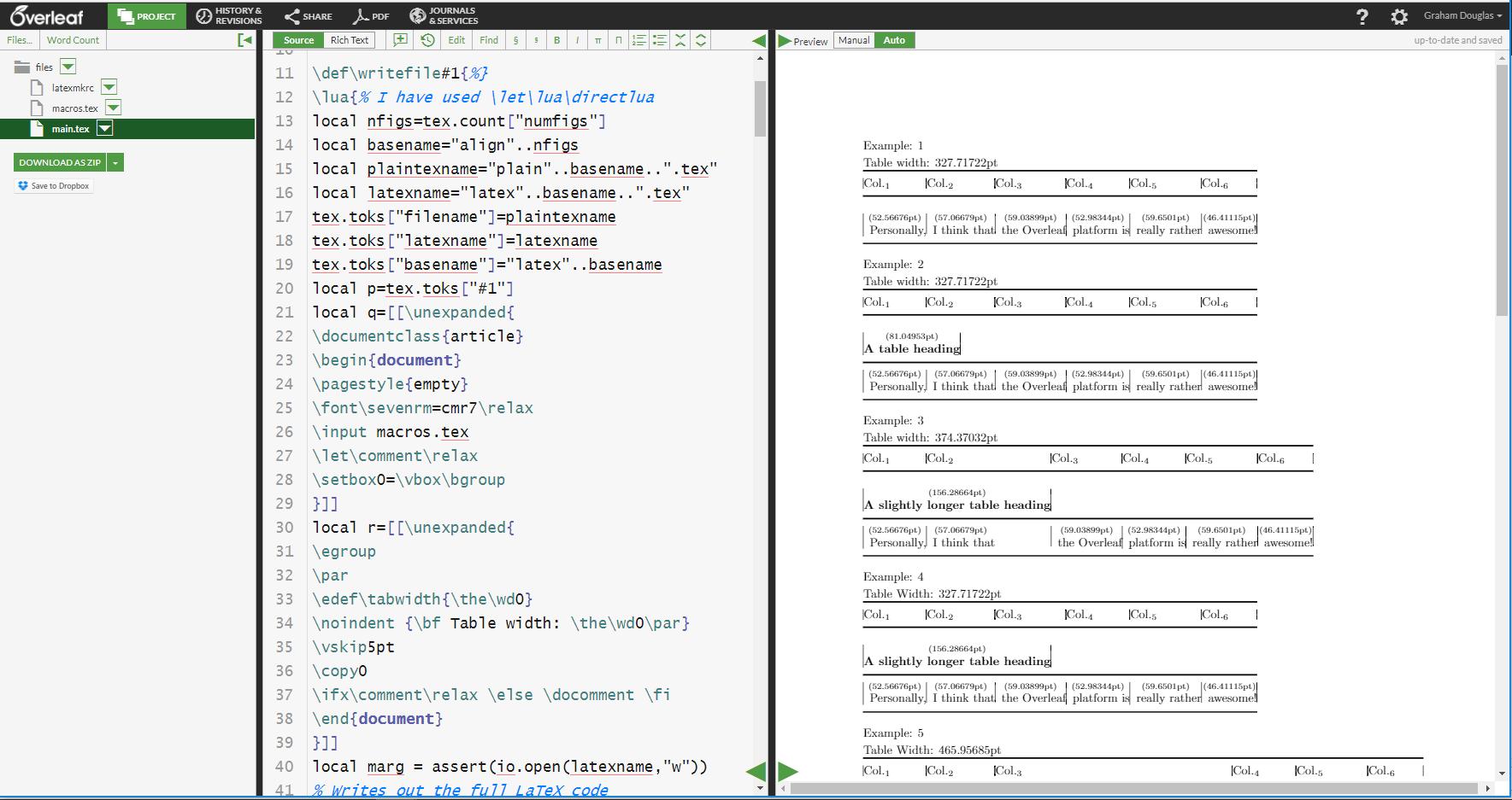 TeX Tables: How TeX Calculates Spanned Column Widths - Overleaf