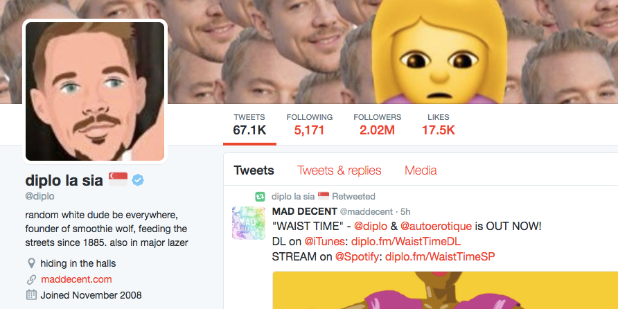 Diplo celebrates his return to Singapore with a unique Twitter name