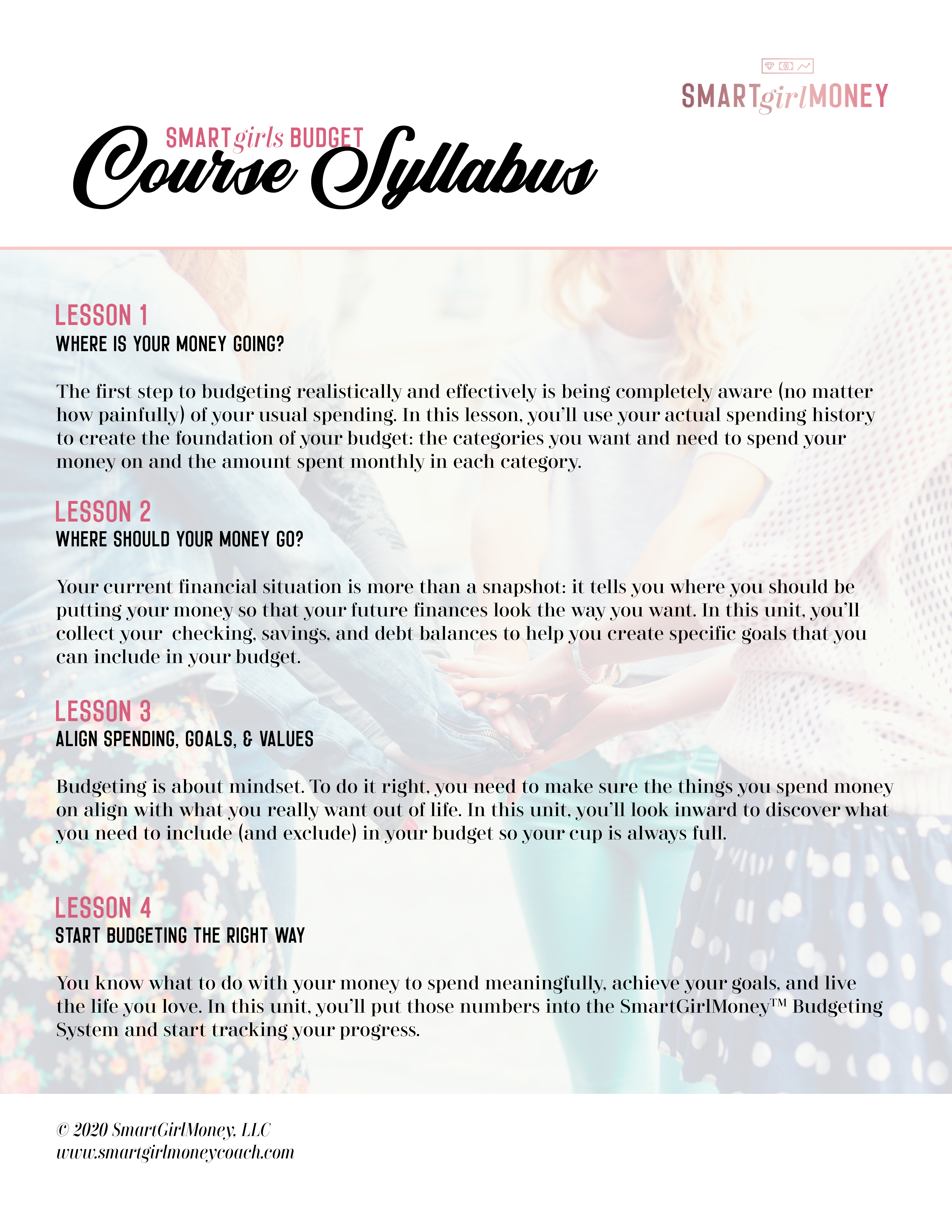 Course Syllabus for Smart Girls Budget
