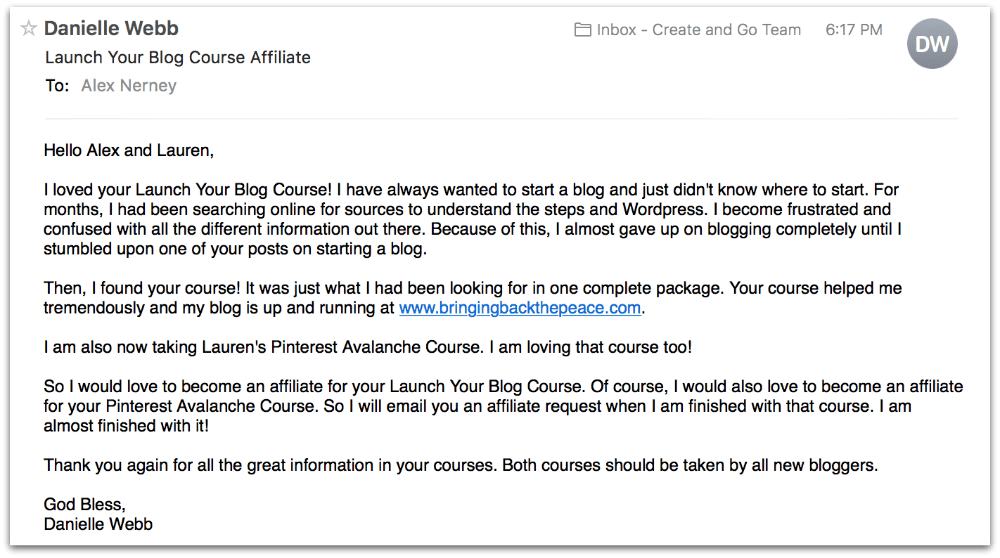 Danielle's review of Launch Your Blog Course